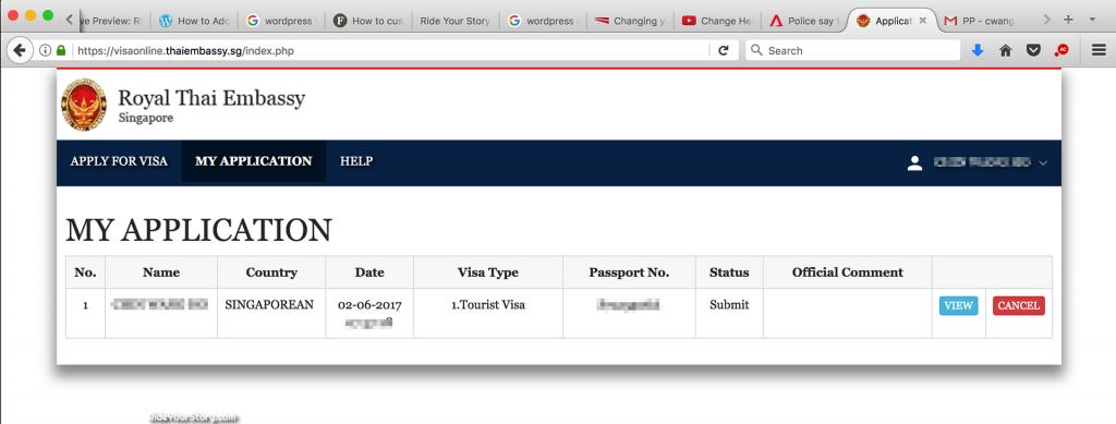 Steps to Visa application at Royal Thai Embassy for